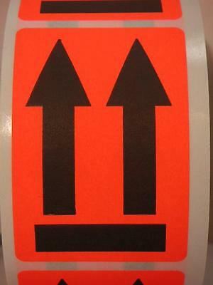 THIS END UP THIS SIDE UP/Large Arrows Pointing Up fluor red  2x3 Label 250/rl