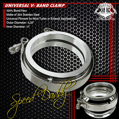 """2.50/"""" 63mm Zinc Coat V-Band Clamp+Flange for Turbo Downpipe Intercooler Exhaust"""