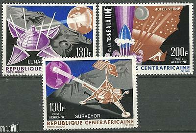 Republica Centroafricana yvert # PA 39/41 ** MNH Set Space / Espacio Julio Verne
