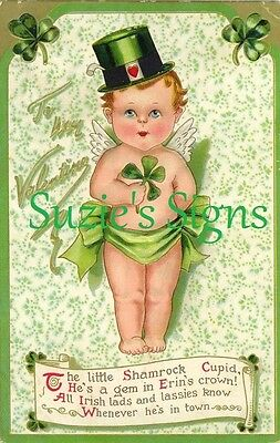 Vintage Fabric Block St Patrick/'s Day Ireland Shamrock Erin Go Bragh Greeting