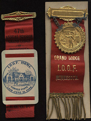 Lot Of 2~1899 Grand Lodge I.o.o.f Home~Minnesota~Celluloid~Cornerstone Laid