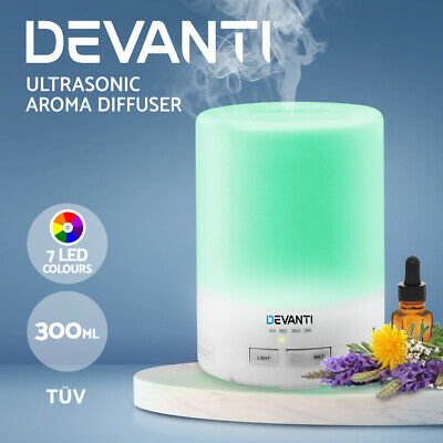 Devanti Ultrasonic Aroma Aromatherapy Diffuser Oils LED Air Humidifier WH 300ml