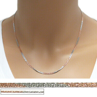 """925 Sterling Silver Rose Gold-Silver Triple Strand Spark Chain Necklace 16""""-18"""""""