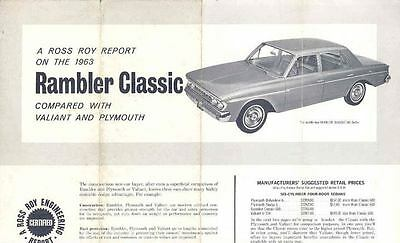 1963 Plymouth & Valiant Vs AMC Rambler Brochure wo1391-VX9ZMB
