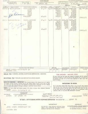 1955 Chevrolet Factory To Dealer Invoice wo3041-X4S359