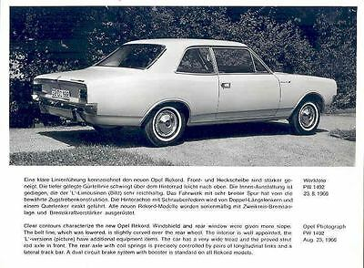 1967 Opel Rekord Coupe ORIGINAL Factory Photo wo4692-FT2OMP