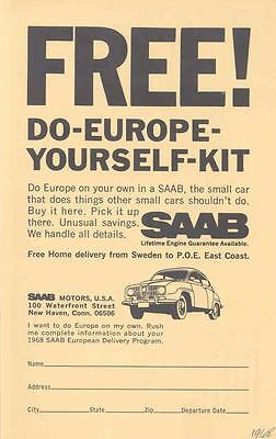 1968 Saab USA 96 European Delivery Factory Postcard wo8857-X3S2LH