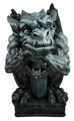 """Large Guardian Gargoyle With Bat Sword Statue 16"""" Tall Faux Stone **backorder**"""