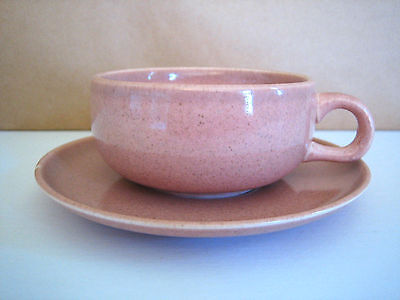 Russel Wright Steubenville  Cup Saucer Coral Pink Vintage Excellent