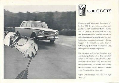 1966 NSU Fiat Neckar 1500CT 1500CTS Brochure German wb2724-4X5387