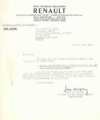 1954 Renault Factory Letter wb3696-DUCB9Y
