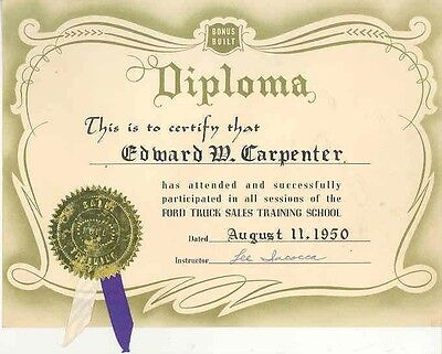 1950 Ford Truck Salesmans Diploma Signed By Lee Iacocca wb8221-7C5NUQ
