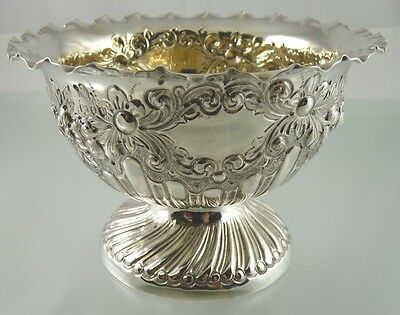 FLUTED EDGE FLOWER PEDESTAL STERLING BOWL GOLD WASHED BY CE LONDON 1890