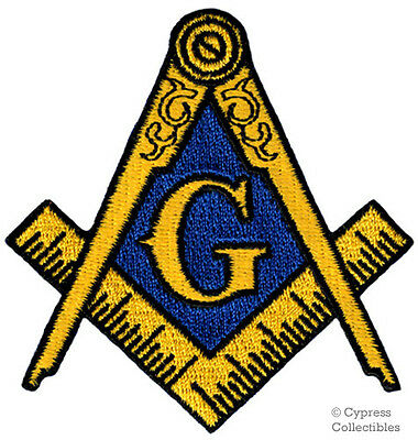 MASONIC LOGO EMBROIDERED PATCH iron-on FREEMASON SQUARE COMPASS MASON EMBLEM