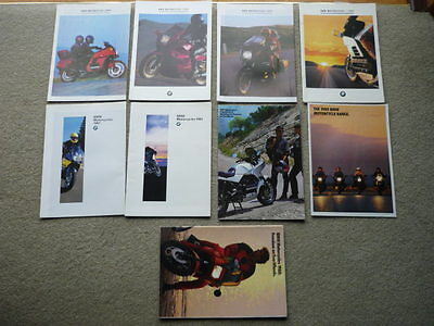 BMW MOTORBIKE SET OF 9  BROCHURES late 80's to mid 90's jm