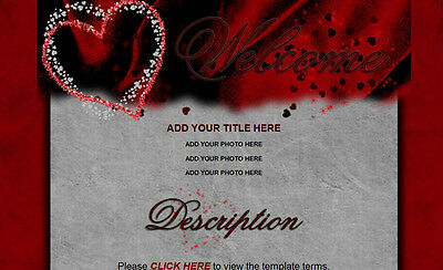 DEEPLY IN LOVE Auction Template HEARTS dark red silver Sweet dark