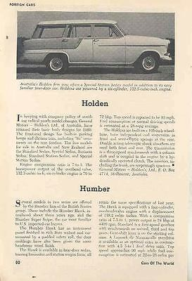 1960 Holden Humber Hillman Magazine Article wn1006-AIGP2H