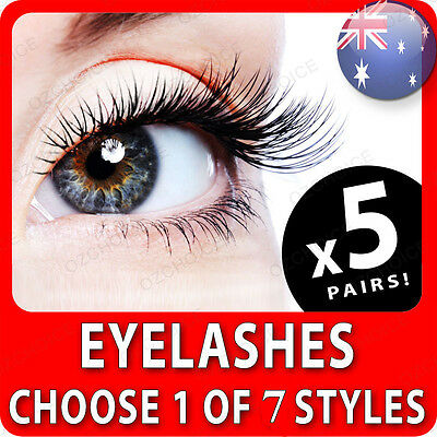 5 Pairs of False Eyelashes Long Thick Natural Fake Lashes Extension with Glue