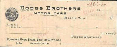 1916 Dodge Factory Check Sample wn743-7PXHUN