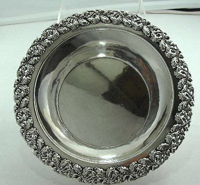 "SHREVE & CO., S.F. Sterling Silver 9"" bowl w/APPLIED FLORAL, PIERCED RIM"