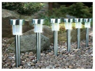 Brand New 12 Stainless Steel Solar Powered Rechargeable Lights Garden Lanterns
