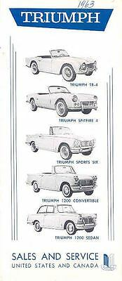 1963 Triumph TR4 Spitfire 1200 US Dealer List Brochure  wk1103-T2AN6B