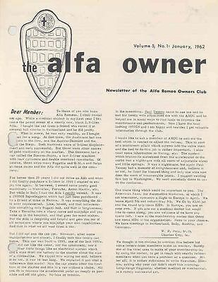 January 1962 Alfa Romeo Club Magazine Volume 5 #1 wj7606-5MKPMY