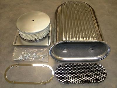 4 Barrel Polished Hilborn Style Carb Finned Air Cleaner Aluminum Hood Scoop Kit
