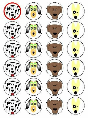 X24 Cartoon Dog Face Cup Cake Toppers Decorations On Edible Rice Paper