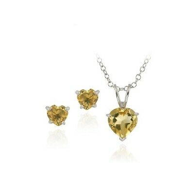 925 Silver 1.9ct Citrine Heart Solitaire Pendant & Stud Earrings Set