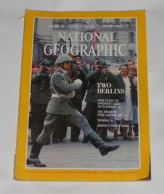 National Geographic Magazine January 1982 - Berlin/Frog-Eating Bat/Taiwan