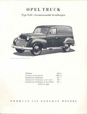 1950 Opel L51 Sedan Delivery Brochure Belgium Dutch  wh8508-Y163VG