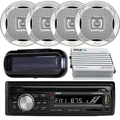 """Marine SD USB Stereo +Wireless Bluetooth Amplifier Cover & 4 6.5"""" Speakers"""
