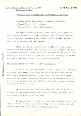 1953 thru 1974 Fiat Seat History Press Release Spain  wg8067-XLSMFC