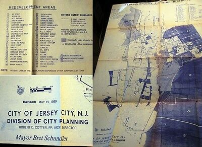 1999 Jersey City Redevelopment Map Zoning Historic Districts