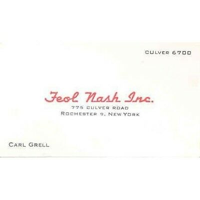 1949 1950 1951 1952 1953 1954 Nash Business Card Feol Nash Rochester NY wd347