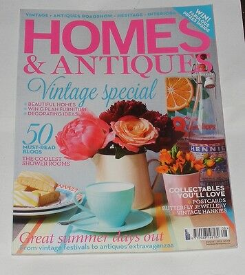 Homes & Antiques Magazine August 2012 - Vintage Special/collectable Postcards