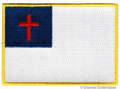 CHRISTIAN FLAG EMBROIDERED PATCH JESUS CHRIST RELIGIOUS IRON-ON EMBLEM applique