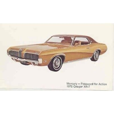 1970 Mercury Cougar XR7 Factory Postcard mx3696-QPY58O