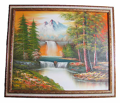 """Mountain & Forest Scene 27"""" x 23"""" Fine Art Oil Painting Faux Marble & Gold Frame"""
