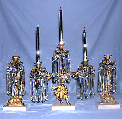 Early 1800s 3 Piece Brass & Marble Girandeol Set with Mantle Lustres and Candles
