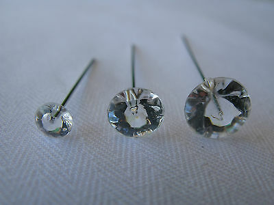 20 Diamante Diamonte effect Clear Diamond Shape Head Silver Pins Choose Size