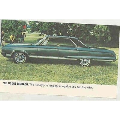 1968 Dodge Monaco Original Factory Postcard mx4193-XYYQAV