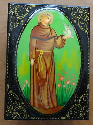 Russian hand painted St Francis  box