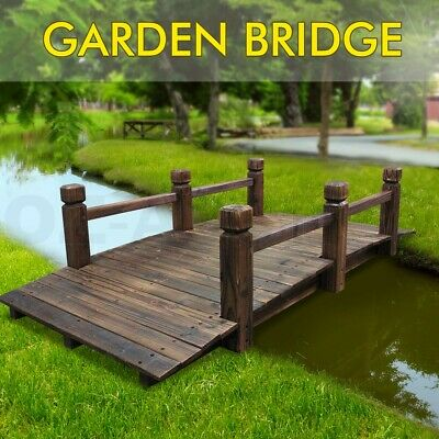 Wooden Garden Decor Bridge Feature Decoration 160cm Rustic Design Outdoor