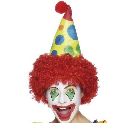 Adult Circus Clown Fancy Dress Hat with Hair Yellow/Multi New by Smiffys