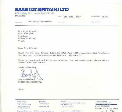 1977 Saab Great Britain Factory Letter x6328-AEDXW2