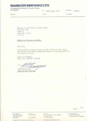 1975 Saab Great Britain Factory Letter x6732-3ZNWBL