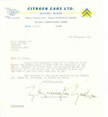 1965 Citroen England Factory Letter x6839-SLD4CW