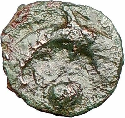 Syracuse Sicily 357BC Authentic Ancient Greek Coin FEMALE & DOLPHIN i26263